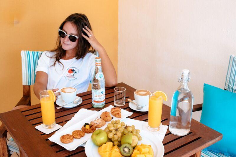 Claudia enjoying coffee in her room