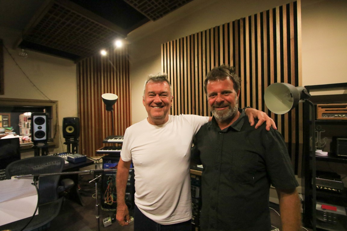 Jimmy Barnes and The Perfect Wave's Marketing Manager Ben Horvath in Jimmy's studio. Photo Potts C/O TPW
