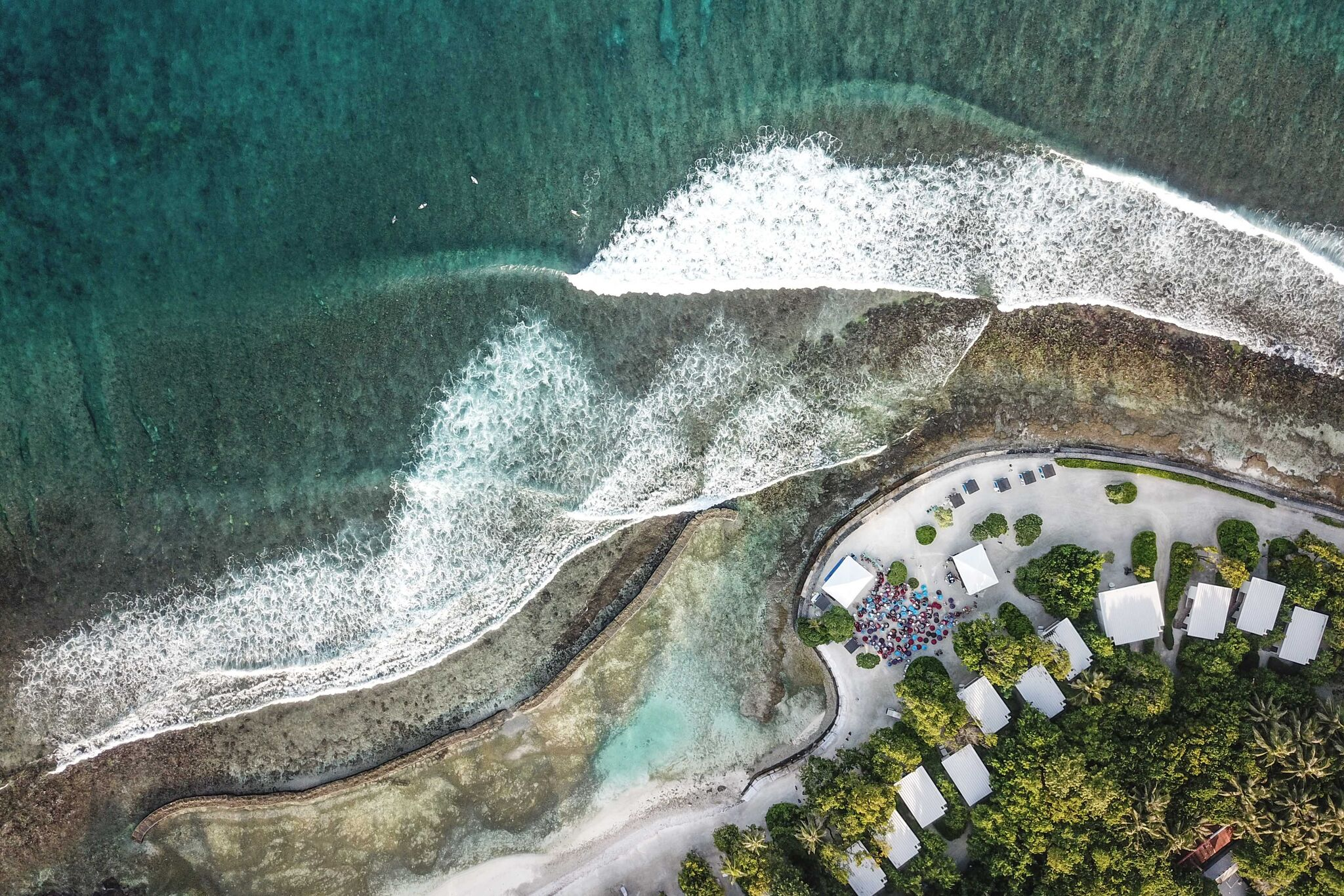 "Drone perspective of Kandooma Right during ""Surf Music In Paradise"" week. Photo - Andy Potts C/O The Perfect Wave."